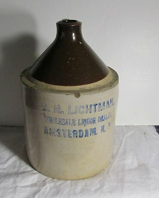 stoneware jug B H Lichtman Wholesale Liquor Amsterdam NY advertising jug