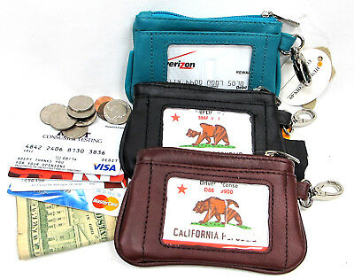 3pc Lot Genuine Leather Coin Purse Credit Holder Black, Burgundy, Turquoise Blue