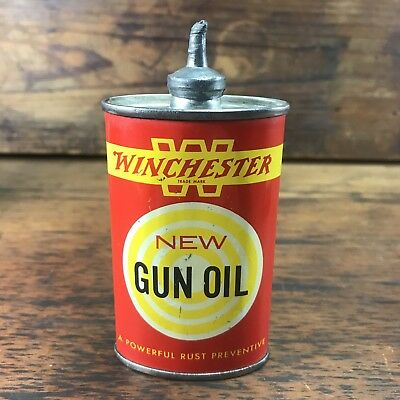 AWESOME VINTAGE WINCHESTER GUN OIL TIN 3oz OVAL LEAD TOP HANDY OILER CAN SIGN