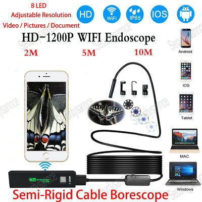 Semi-Rigid Wifi Endoscope HD Camera Pipe 1200P Borescope for Android IPhone IP68