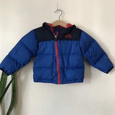 The North Face Baby Boys Red Blue Zip Hood Down Jacket 12-18 Months
