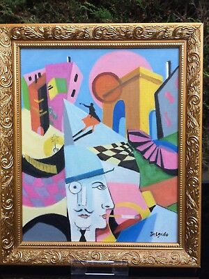 Antique/vintage Style Abstract /cubist Oil Painting On Canvas Signed Delgado