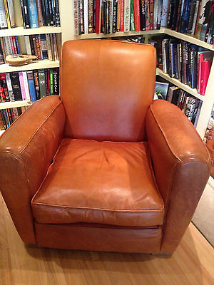 1940s DISTRESSED LEATHER CLUB CHAIR