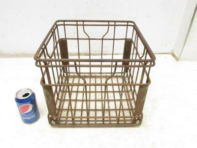 Antique Vintage Borden's 1963 Dairy Steel Wire Metal Milk Bottle Crate