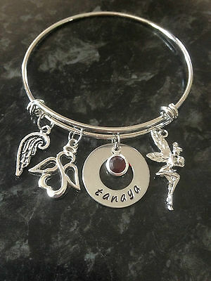 Hand Stamped Personalised Name Expandable Bangle + Birthstone. Custom Made.