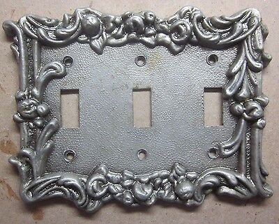Vintage ornate floral embossed brass plated zinc 3 gang light switch wall cover
