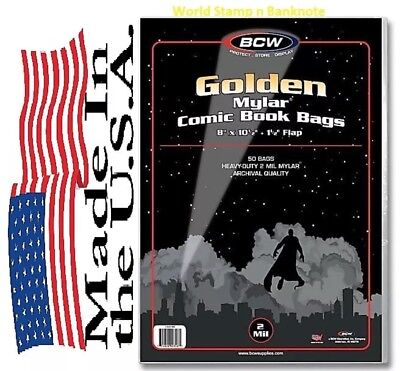 50 Bags Heavy Duty BCW Golden Comic Mylar Archivals - 2 Mil. 8 x 10 1/2 (#CS94)