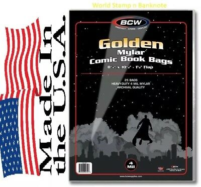 Pack of 25 Bags  BCW Golden Comic Mylar Archivals - 4 Mil. 8 1/4 x 10 1/2 (#872)