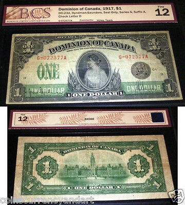 Dominion Of Canada 1917 $1  Large Banknote