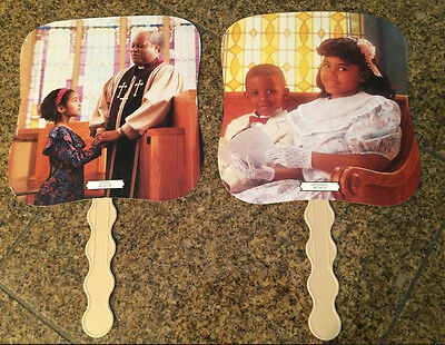 2 Vintage Collectible Afro/amer Church Hand Fans Cardboard/plas Advertising L@@k