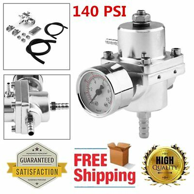 Universal Fuel Pressure Regulator Full Set With Gauge 140 Psi Adjustable Silver