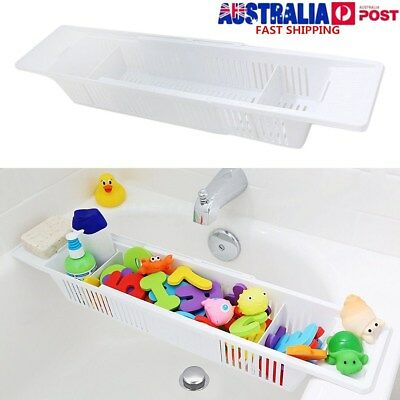 Bath Tub Toy Organizer Basket Adjustable White Storage Caddy Kids Baby Holder