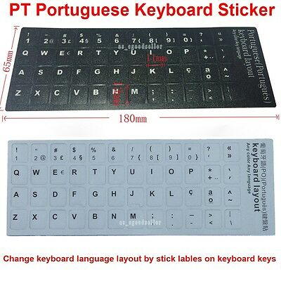 Replacement Portuguese PT Keyboard Sticker KEY Laptop Black / White Letters NEW