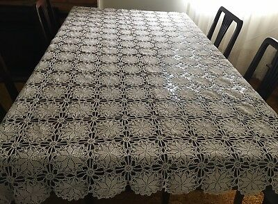 HAND CROCHET Beige, Rectangular Tablecloth 185 x 125cm - Lovely