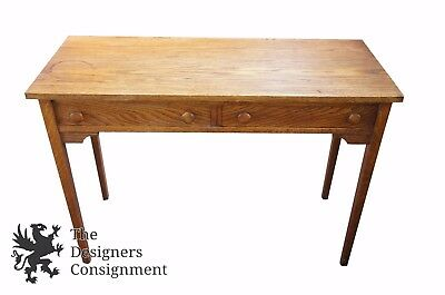 Vintage Arts & Crafts Mission Style Oak Writing Desk 2 Drawers Green Baize Lined
