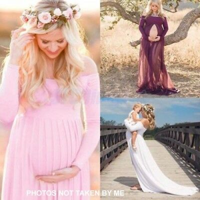 NEW Pink Chiffon Gown Maternity Maxi Wedding Party Dresses Photography