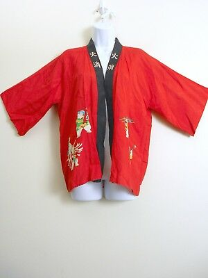 Vintage 60s 70s Short Red KIMONO Asian Top Wrap Cover Up Made in JAPAN Children