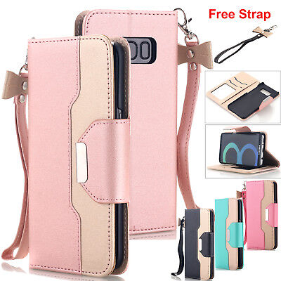 Samsung Galaxy S10 S9 S8 S7 Note 8 Wallet Case PU Leather Stand Flip Phone Cover
