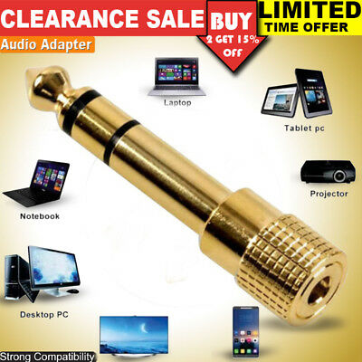 """3.5mm GOLD Headphone Stereo Adapter to 6.35mm Jack Earphone 1/4"""" Audio Adapter"""