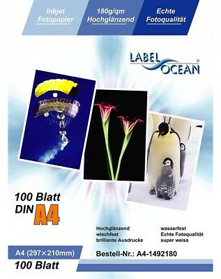 100 Feuilles Papier Photo A4 Premium Haute Brillance 180g LabelOcean