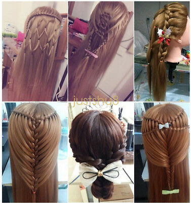 100% Real Human Hair Salon Hairdressing Training Head Practice Mannequin & Clamp