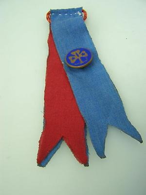 Vintage Girl Guides badge mounted on ribbons                                2005