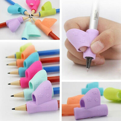 1/3X Pencil Holder Grip Posture Corrector Silicone Kid Hand Writing Orthotic Aid