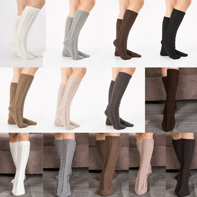 US Seller Women Soft Winter Cable Knit Over knee Long Boot Warm Thigh High Socks