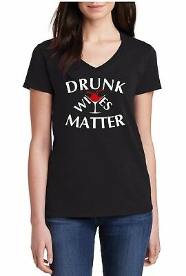 0acc003f Ladies V-neck Drunk Wives Matter T-Shirt Wife Drinking Team St Patricks Day