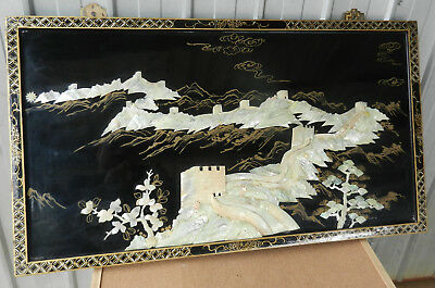 Great Wall Of China Mother Pearl Inlay Chinese Wall Art Laquer Wood Vintage