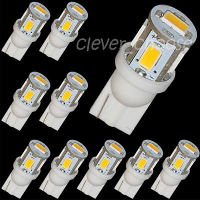 10x 3000k Warm White LED T10 194 158 912 5-SMD Map Dome License Plate Light Bulb