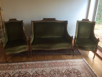 Sofa Armchair suite Antique / arts and craft style VGC Solid Oak green used