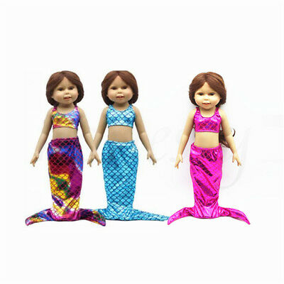 """Cute Mermaid Tail Costume Outfit Doll Dress Clothes For 18"""" American Girl 3Color"""