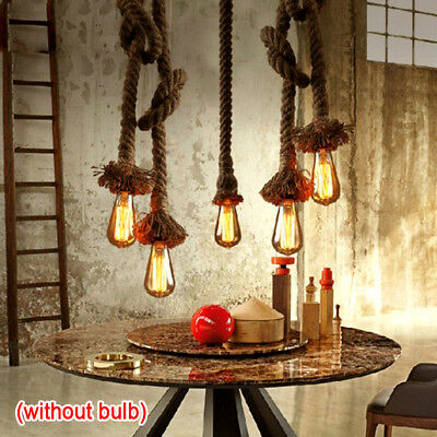 Vintage Pendant light Fittings Hemp Rope Ceiling lamp Chandelier E27 Base 2pcs