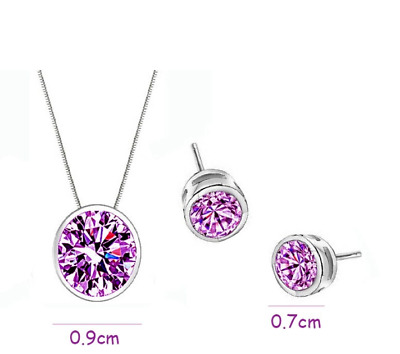 925 Silver Purple Cubic Zirconia Jewellery Set Necklace and Drop Earrings