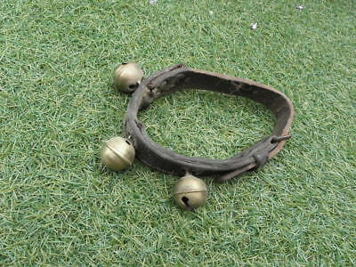 ANTIQUE SLED BRASS BELL SLEIGH BELLS Leather PRIMITIVE  COUNTRY french old