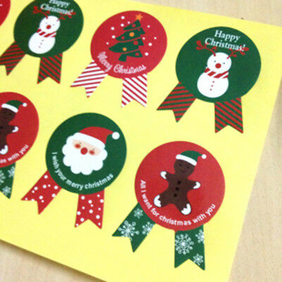 80pcs Christmas Label Paper Sticker Useful Sealing for Cookie Candy X'mas Gift