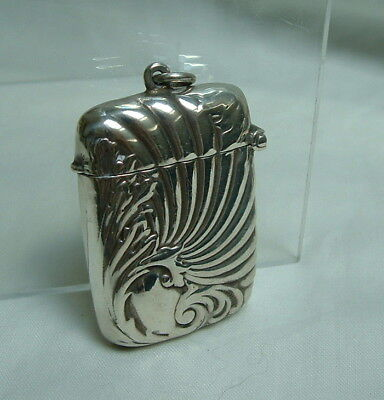 Antique Lovely Sterling Silver Art Nouveau Design Vesta Case with Ring