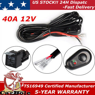 40A 12V UNIVERSA Switch Relay Fuse Wiring Harness Kit for LED Light Bar Offroad