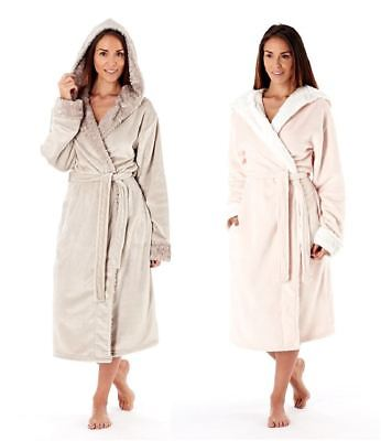 Ladies Winter Woodland Super Soft Coral Fleece Hooded Dressing Gown Robe Wrap