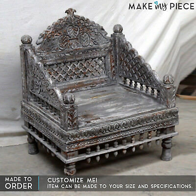 MADE TO ORDER Hand Carved Daybed Mattress Balinese Day bed Rustic Whitewash Sofa
