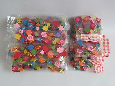 Job Lot of 66 Girls Colourful Wooden Beaded Necklaces & Bracelets