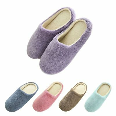Women Men Winter Warm Fleece Anti-Slip Slippers Home Sandals Indoor Room Shoes