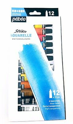 Pebeo Water Color 12 colours Paints in tubes Register Shipping