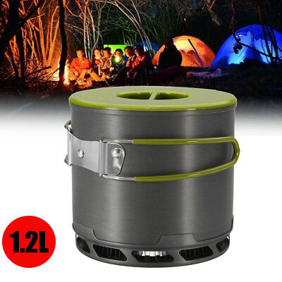 1.2L Outdoor Heat Collecting Exchanger Camping Pot Kettle Cookware Hiking Pot