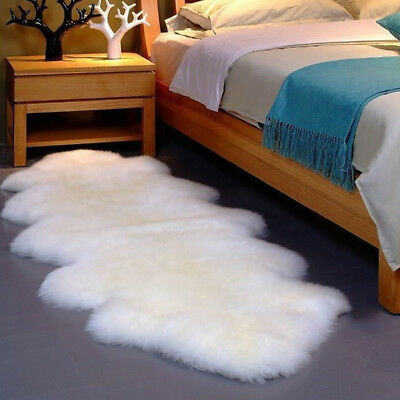 Double Pelt LARGE Soft Sheepskin Rug Mat Seat Pad White Grey Black - 6' x 2.2'