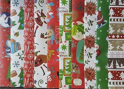 10 Sheets Of Good Quality Assorted Christmas Wrapping Paper