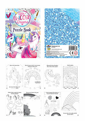 6 Unicorn Puzzle Activity Books - Pinata Toy Loot/Party Bag Fillers Wedding/Kids