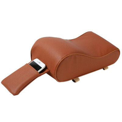 Brown PU Leather Car Auto Center Console Seat Soft Armrest Protector Pad Storage