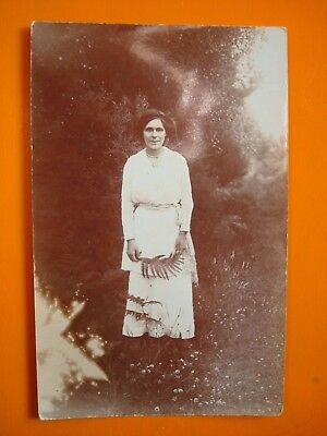Vintage Postcard / Photograph - Lady In Garden With Fern, Blades, Horncastle